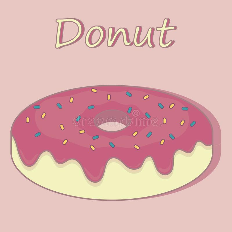 Cartoon Donut with Pink Glaze. Vector Illustration. Donut Icon. royalty free stock image
