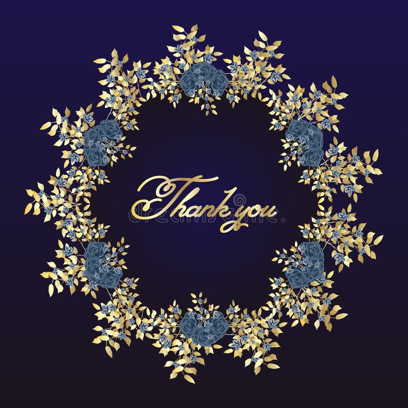 Thank you. Flower frame of roses - greeting card. navy blue and gold concept. Vector illustration. stock illustration