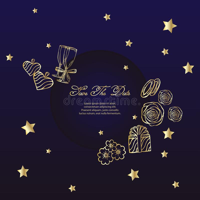 Wedding navy blue and gold concept.  vector illustration. card with a frame of drawings of flowers, rings, gift, rings, glasses, h vector illustration