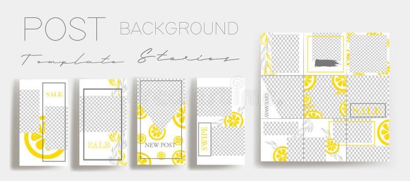Design backgrounds for social media banner.Set of instagram stories and post frame templates.Vector cover. Mock up for personal blog or shop.Layout for royalty free illustration