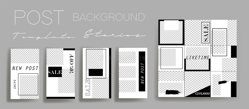 Design backgrounds for social media banner.Set of instagram stories and post frame templates.Vector cover. royalty free illustration