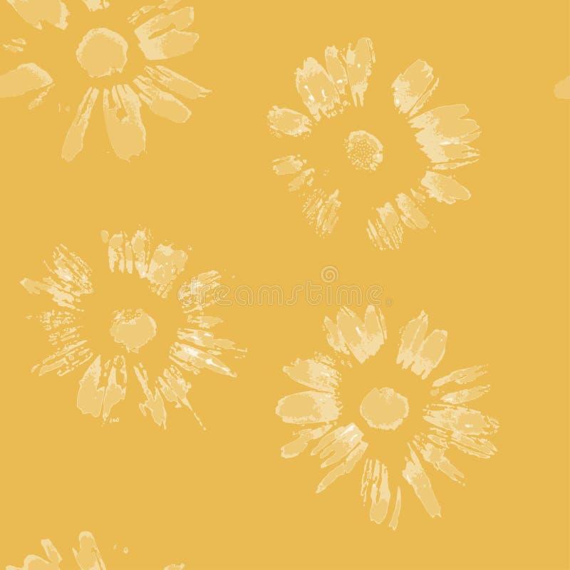 Seamless pattern natural camomile imprints vector. vector illustration