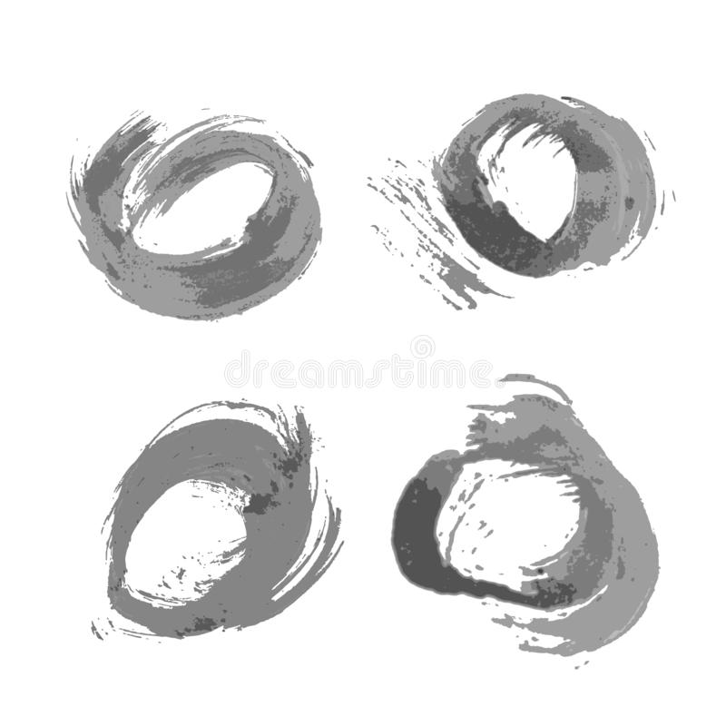 Set of four grunge round backgrounds of black ink. Drawn by hand with a brush. Isolated on a white background. Vector illustration stock illustration