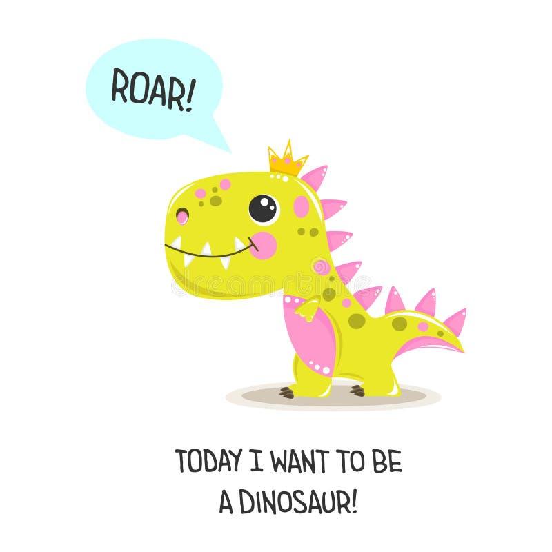 Vector Cute baby girl dinosaur. royalty free illustration