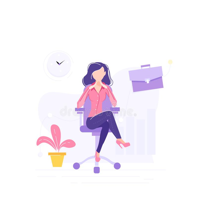 Modern business woman at work. Big pretty, female boss. Set of business element case, charts, time. Modern office interior stock illustration