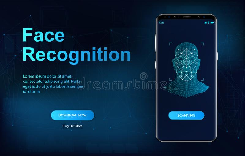 Biometric face recognition on smartphone royalty free illustration