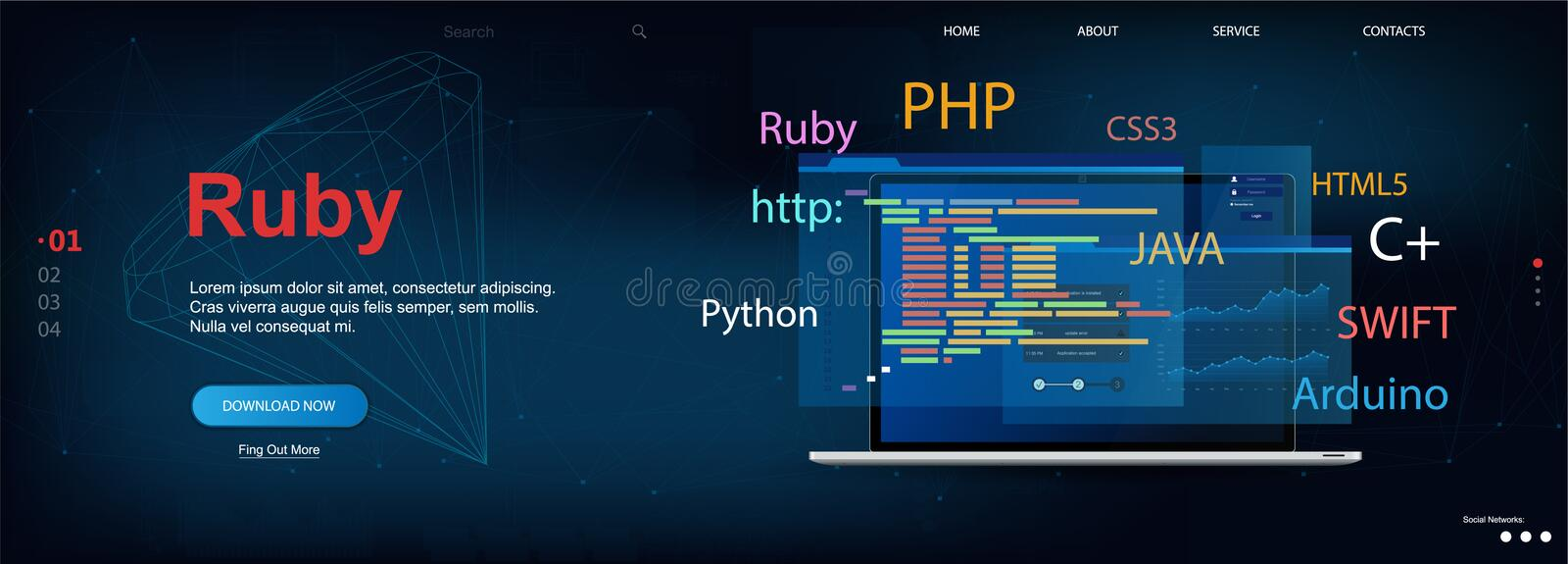 Ruby programming language. Web page template Software development. Vector illustration with laptop and program code on screen. Ruby concept banner. Vector stock illustration
