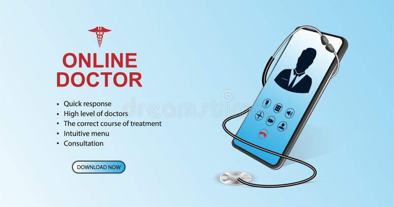 Doctor online concept. Healthcare concept stock illustration