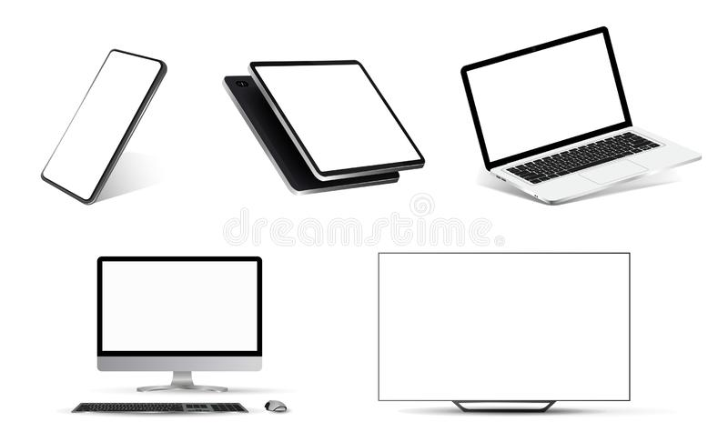 Mockups collection realistic devices. Nice mockups collection realistic devices. Smartphone, tablet, laptop, PC and TV. 3D realistic models of devices from stock illustration