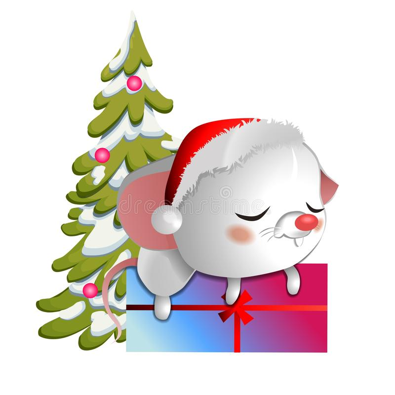 Cute white mouse in a Christmas hat sleeping on a box with gifts on the background of the Christmas tree. stock illustration
