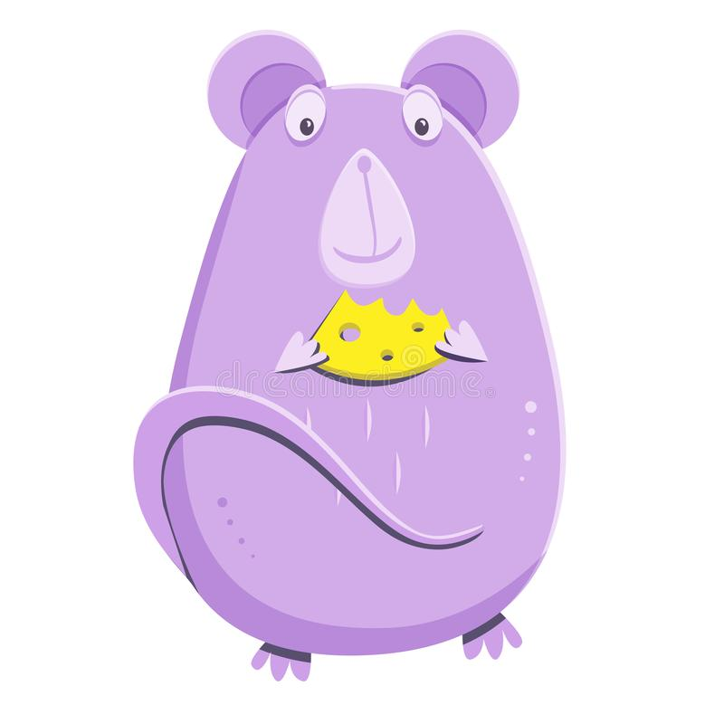 Cute lilac mouse with a piece of cheese. Cartoon rat the mascot of 2020 year. stock illustration