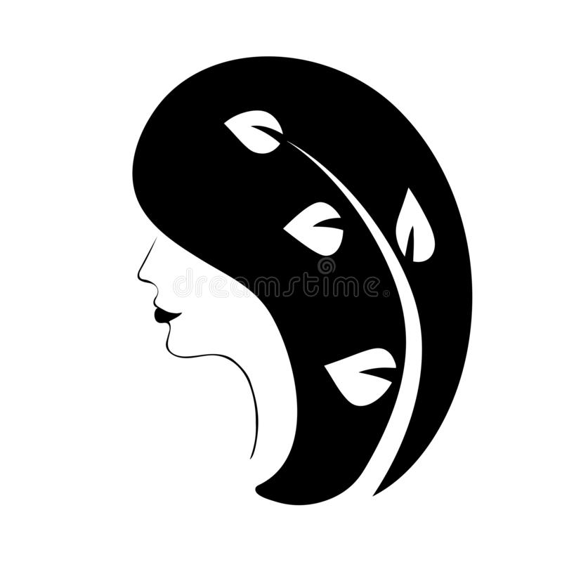 Exquisite female profile with luxurious hair graphic image vector icon.  stock illustration