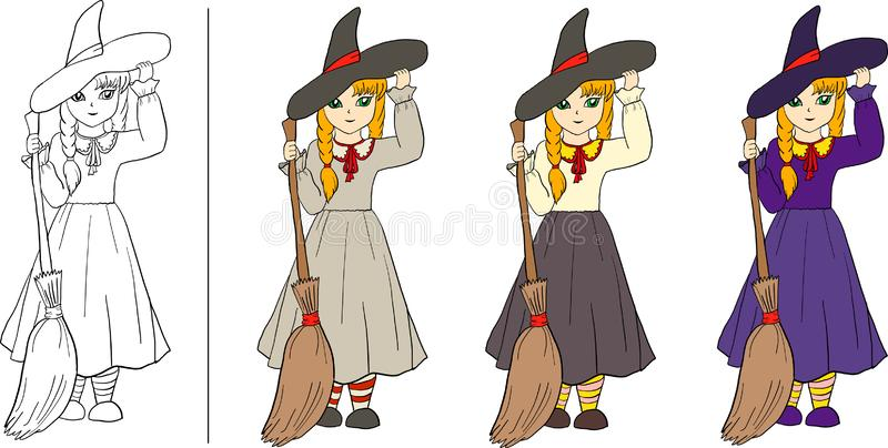 Set of girl-witches with hat and broom stock illustration
