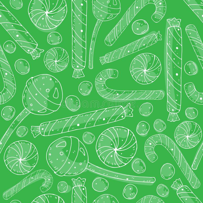 Seamless cartoon pattern with contours of sweet candies on a neutral background. holiday theme. royalty free illustration