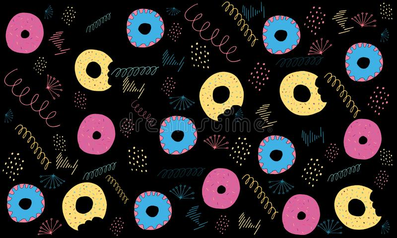 Donuts card.Birthday card. Greeting card from flowers. Birthday card. Greeting card from flowers. Can be used as a postcard, as well as decoration of your royalty free illustration