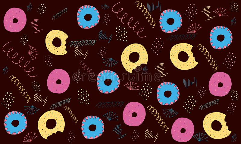 Donuts card. Seamless pattern vector illustration