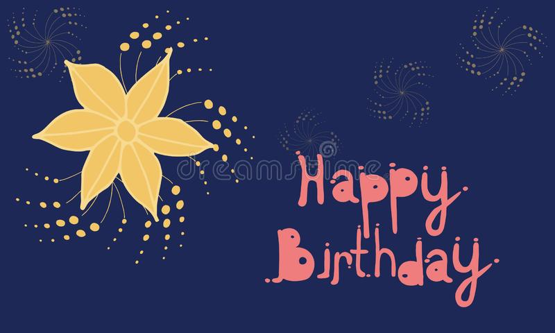 Birthday card. Greeting card from flowers. Can be used as a postcard, as well as decoration of your design stock illustration