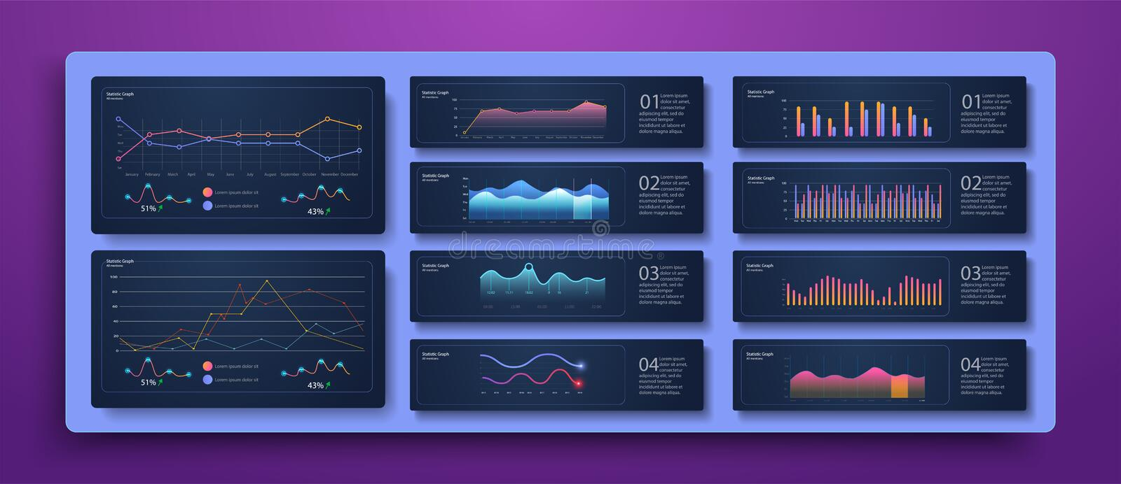 Dashboard infographic template with modern design royalty free illustration