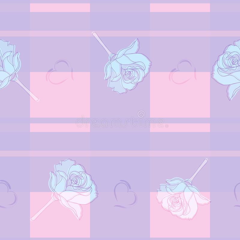 Blue, pink and lilac checkered vector endless texture with roses and hearts for fabric and decoration. royalty free illustration