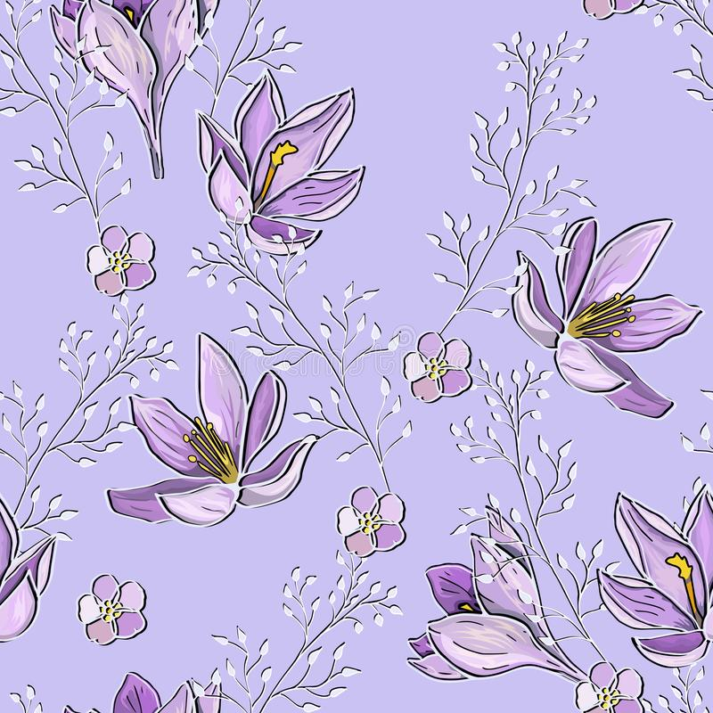 Lilac mauve seamless pattern with flowers and twigs. Tender delicate vector endless texture. vector illustration