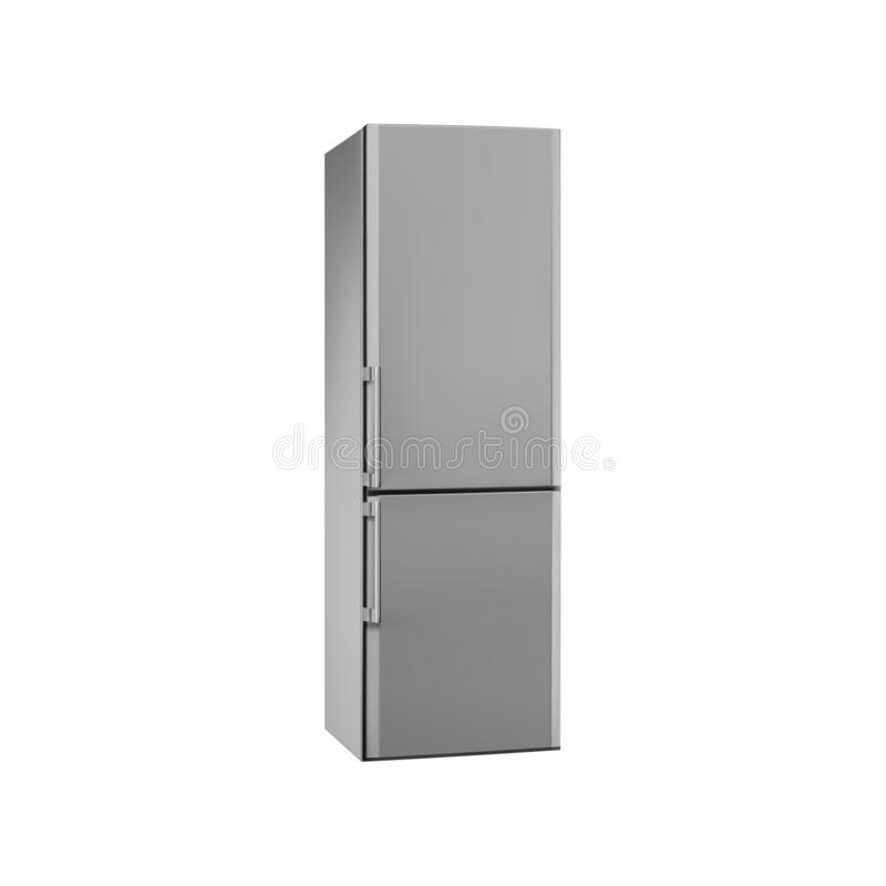Modern refrigerator isolated on white background. Vector illustration. Modern metallic refrigerator isolated on white background. Vector illustration vector illustration