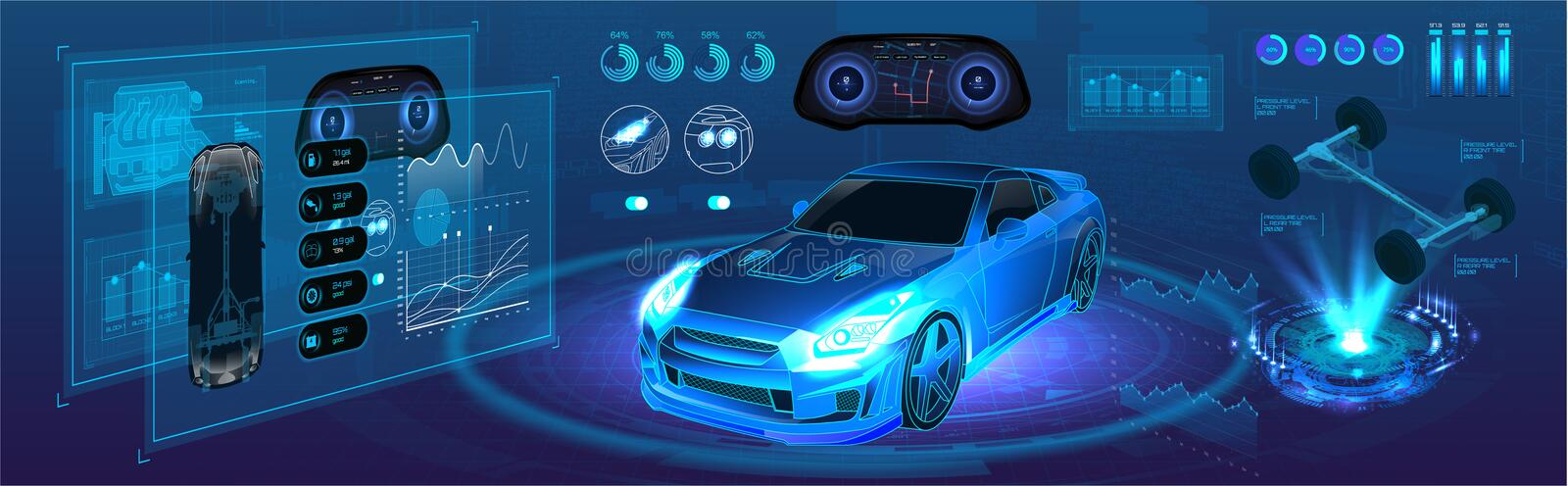 Auto service of the future, high-tech diagnostics car. In the style of HUD. Autonomous car vehicle with infographic. Isometric smart car banner. HUD UI royalty free illustration