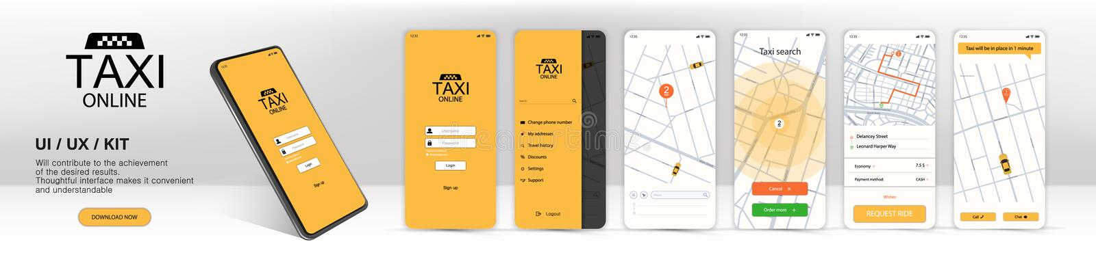 Call a taxi online, mobile application. UI, UX, KIT Application vector illustration