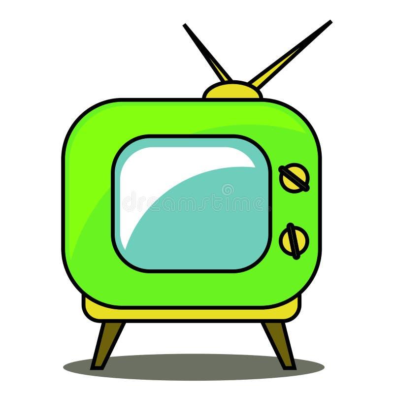 Green retro tv set on a white background. Vector. Green retro tv set on a white background. Vector illustration royalty free illustration