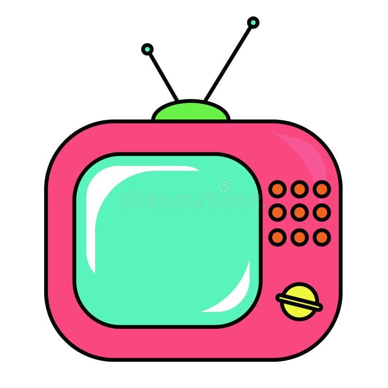 Pink retro tv set on a white background. Vector illustration royalty free illustration