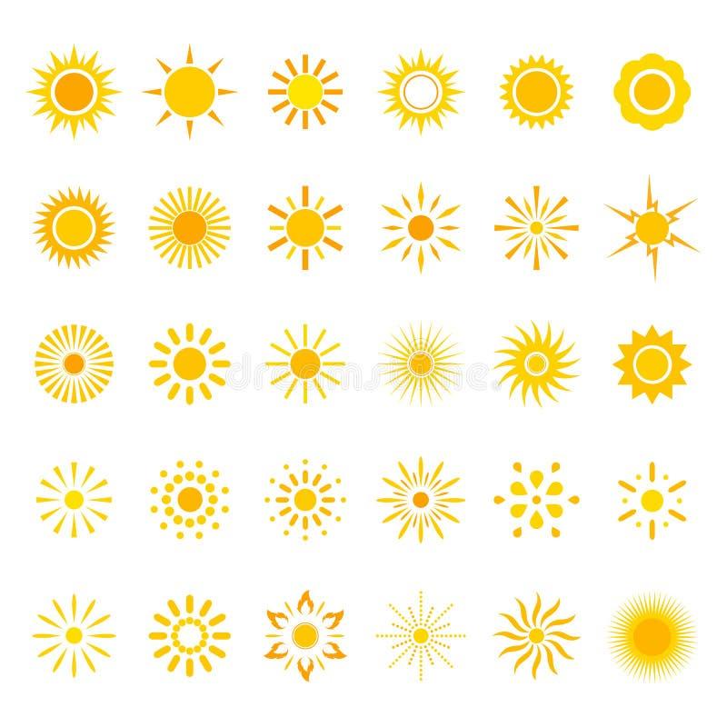Illustration Set symbols of the sun on a white background. stock illustration