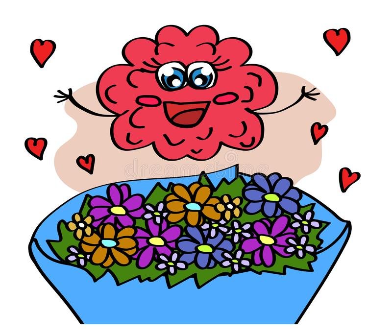 Cute brain and a bouquet of flowers. Cartoon. Vector illustration royalty free illustration