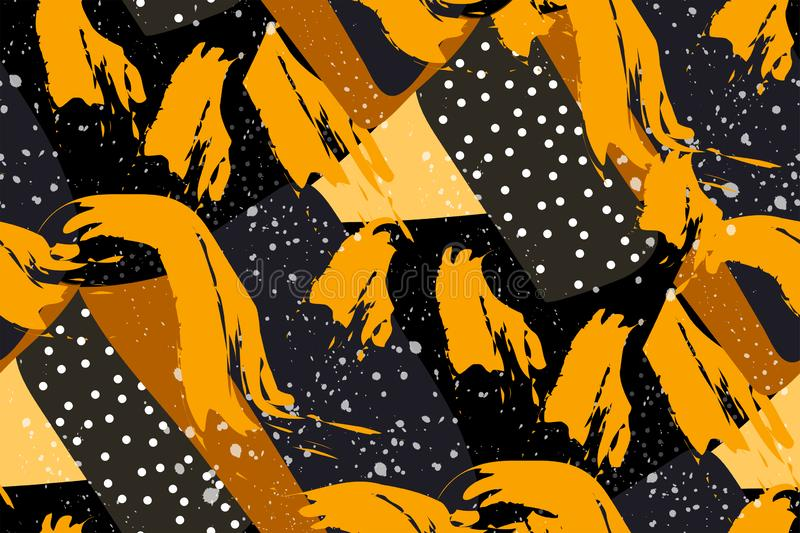 Seamless abstract pattern. Splashes and strokes of paint, geometric shapes of yellow, black and gray. Original unusual print. stock illustration