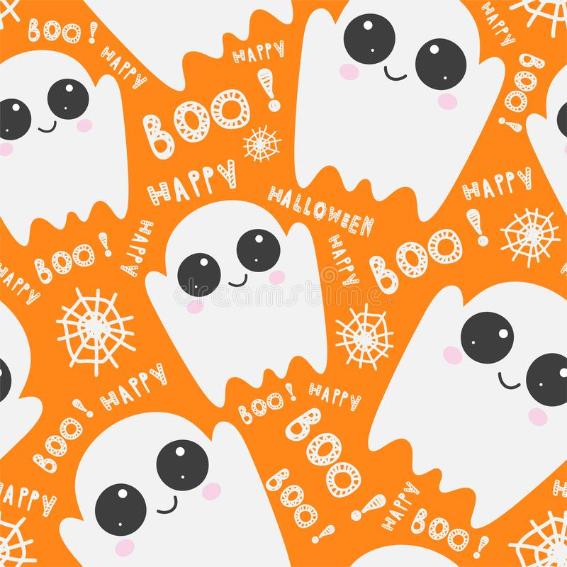 Halloween seamless pattern with cute ghosts, cobwebs, lettering on orange background. Halloween  template. vector illustration
