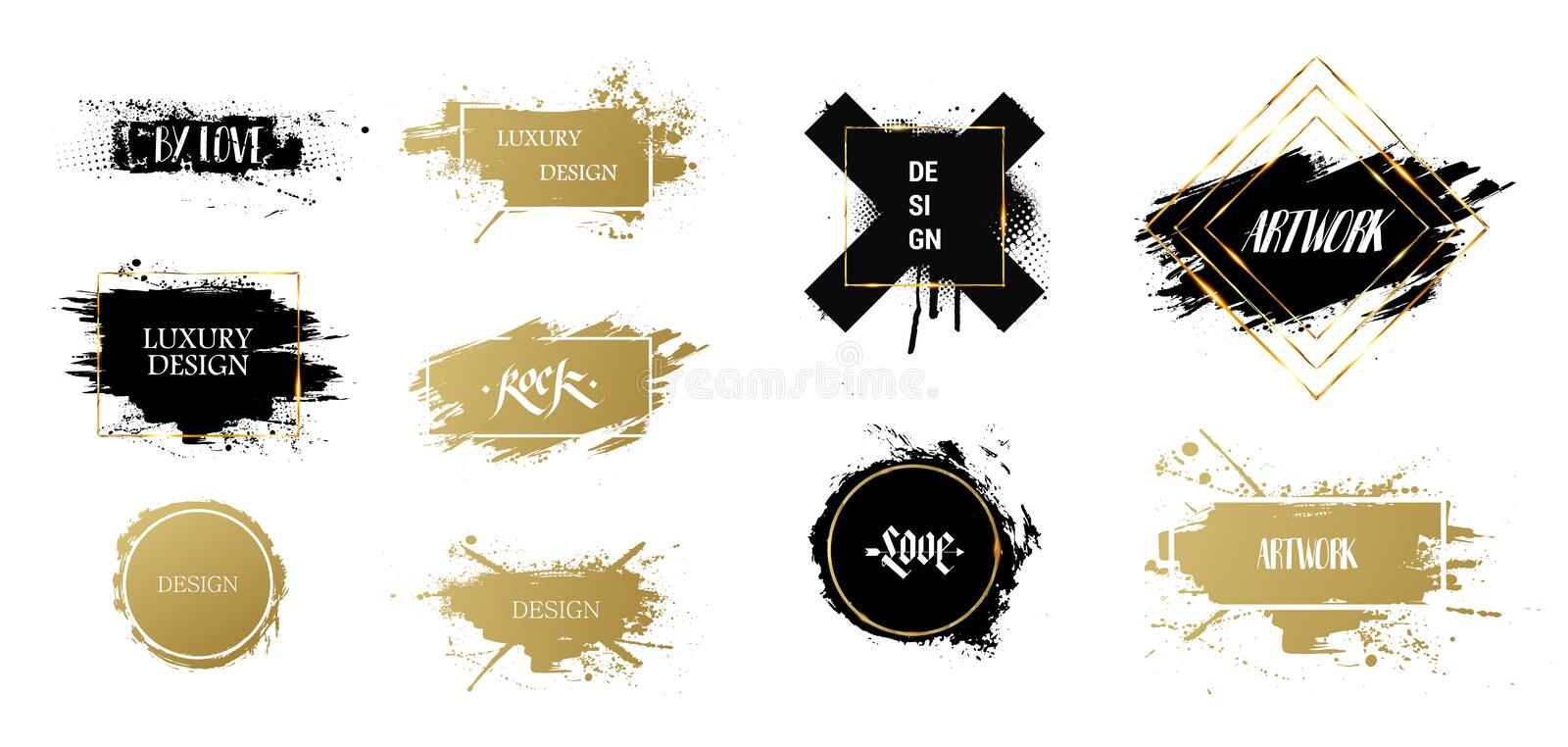 Texting boxes. Vector golden brush royalty free illustration