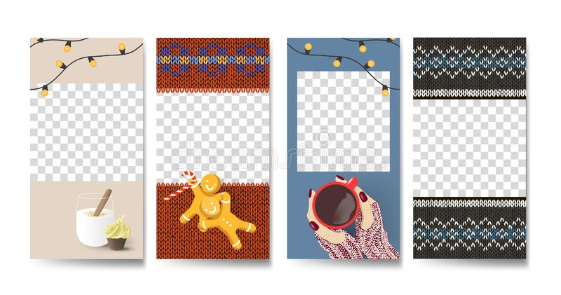 Vector set of Knitted Christmas social media stories design templates, party  background / banners, 2020 new year greeting cards royalty free illustration