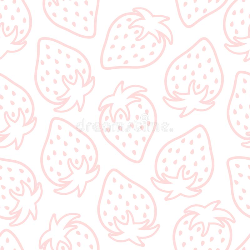 Vector seamless pattern with strawberry silhouettes on white background. royalty free illustration
