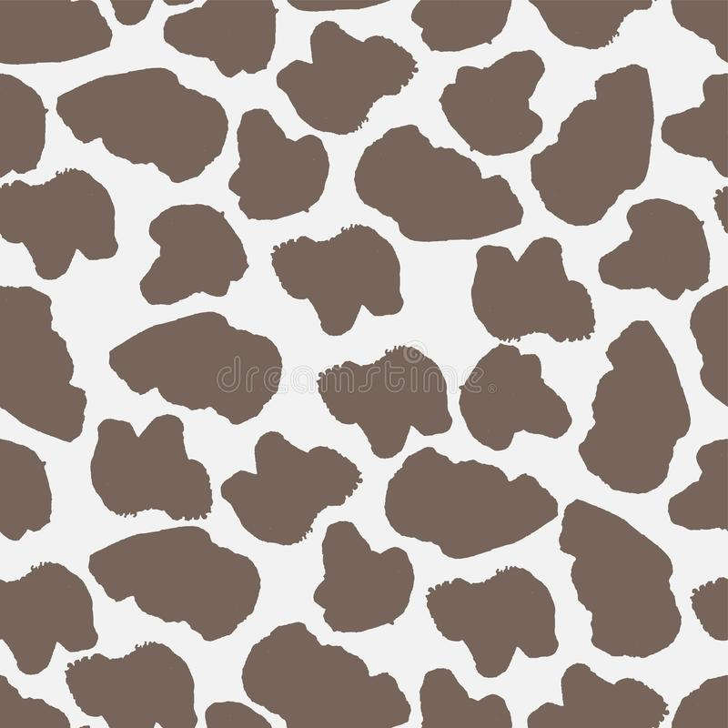 Abstract seamless pattern. Beige and white colours. Grunge texture with blots. Bright vector illustration. Animal print. For textile and fabric. Endless vector illustration