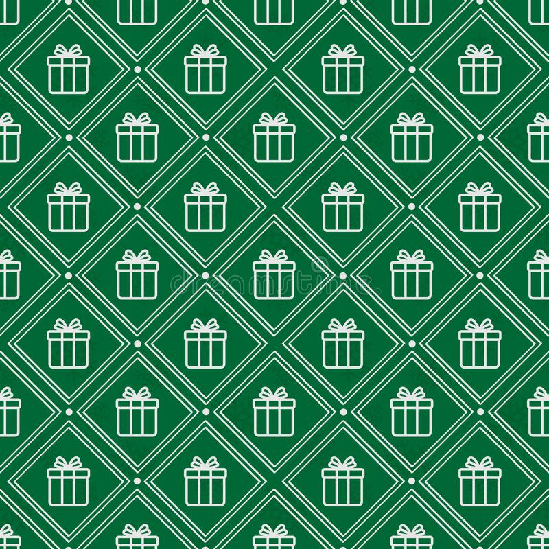 Vector seamless geometric pattern with white gift boxes on green background. stock illustration