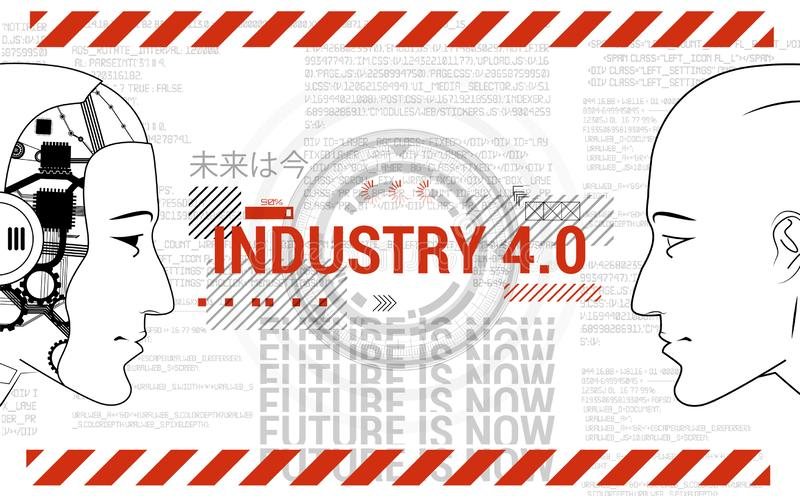 Industry 4.0 concept banner. Robot and human. Industry 4.0 concept banner. Physical Systems concept, Robot and man are looking at each other. Automation, human vector illustration