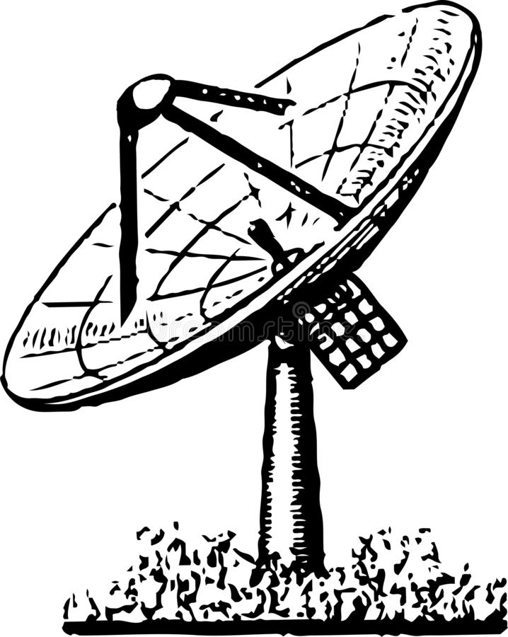 Antenna for receiving radio signals from satellites and from space. On a white background as illustration vector illustration