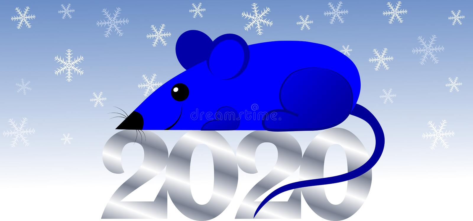 Happy Chinese New Year 2020, Year of the Rat. Template banner, poster. royalty free illustration