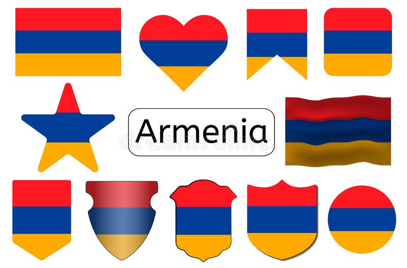 Armenian flag icon, Armenia country flag vector illustration stock illustration