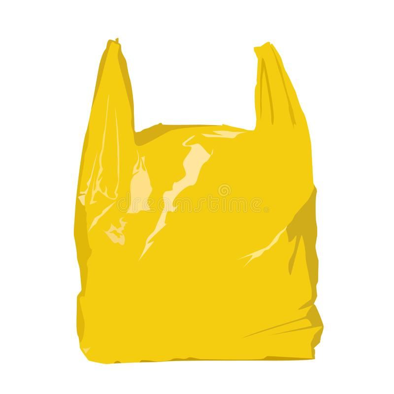 Yellow plastic bag realistic vector illustration isolated royalty free stock photos