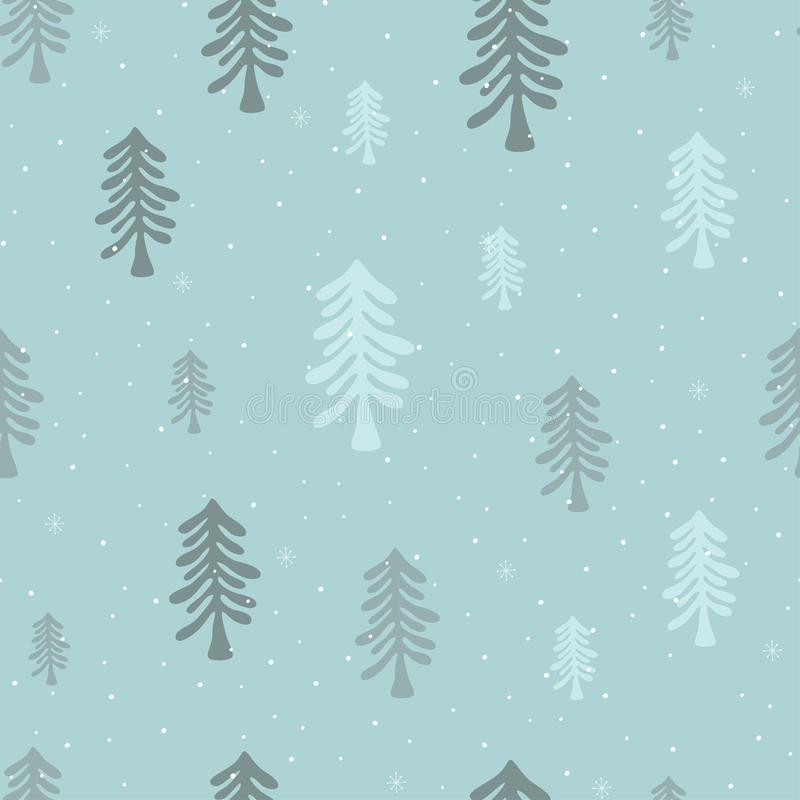 Cute winter seamless pattern with christmas tree and snow. Vector illustration vector illustration