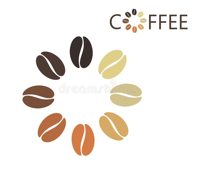 Coffee bean logo. Isolated coffe beans on white background stock photos