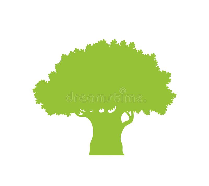 Oak tree silhouette. Isolated  oak tree on white background royalty free stock photos