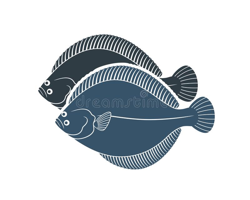 Flounder logo. Isolated flounder on white background royalty free stock photo