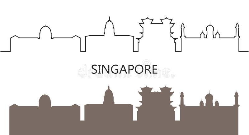 Singapore logo. Isolated Singapore Architecture on white background royalty free stock photo