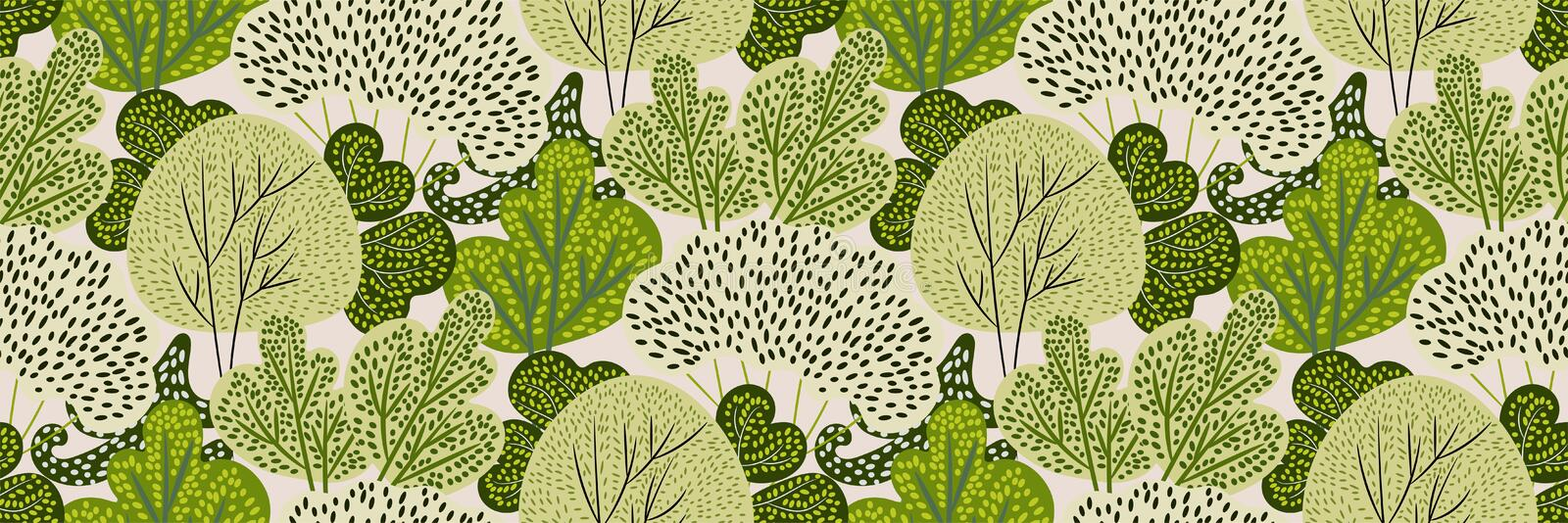Seamless pattern with green trees in a hand-drawn style on a white background. Creative print with spring / summer forest. vector illustration