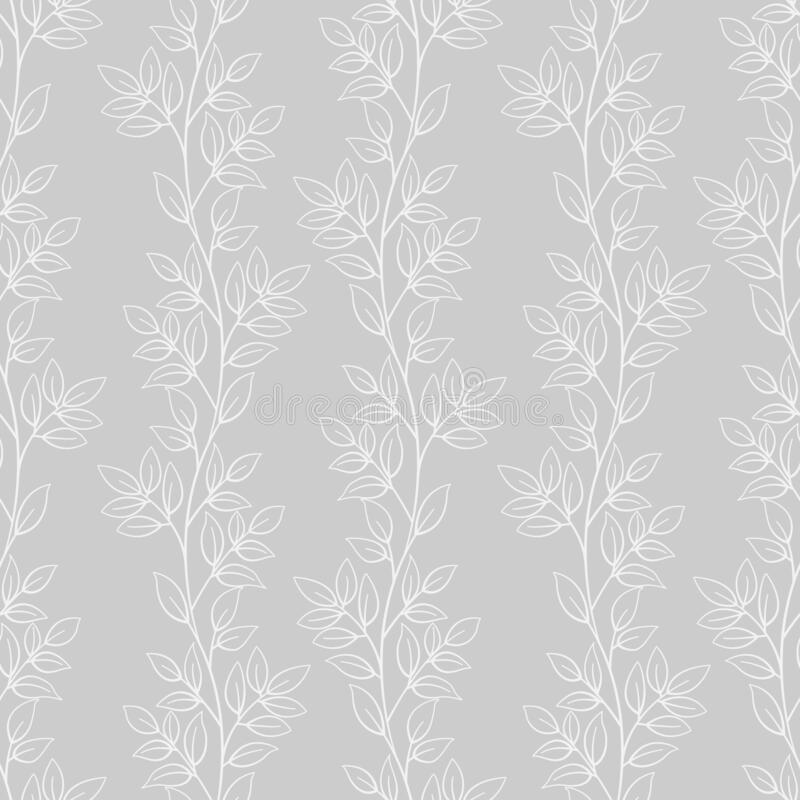 Leaf seamless pattern; white vertical leaf twigs on gray background; abstract floral design. royalty free illustration